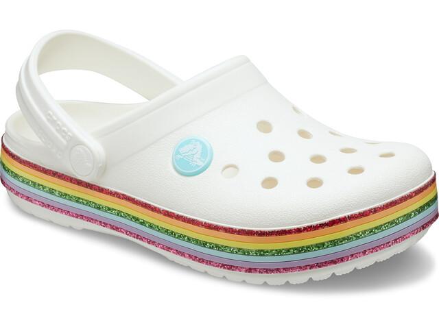 Crocs Crocband Rainbow Glitter Clogs Niños, white